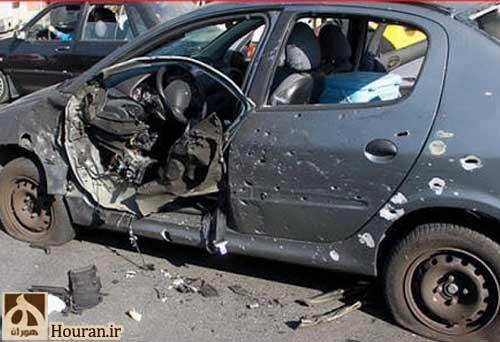 تصویری از ماشین دانشمند ایرانی بعد از حادثه تروریستی