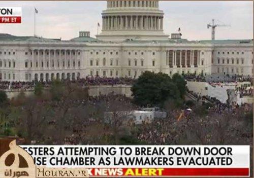 شورش در آمریکا معترضان به تالار اصلی کنگره وارد شدند